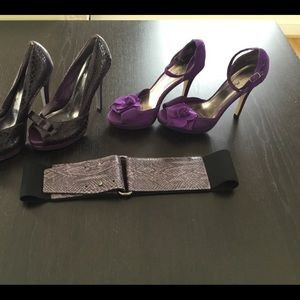 2 Pairs of Purple Heels and a belt